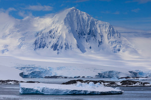 Misty Mount William, glaciers and icebergs, sunny weather, Anvers Island, from Bismarck Strait, Antaの写真素材 [FYI03788740]