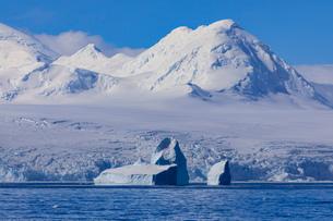 Non-tabular iceberg off glaciated, mountainous Anvers Island, blue sky, Antarctic Peninsula, Antarctの写真素材 [FYI03788744]
