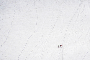 Climbers trails and crevices crossing the Vallee Blanche, Chamonix, Haute Savoie, Rhone Alpes, Francの写真素材 [FYI03788767]