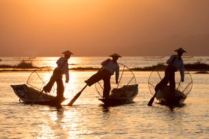 Three fishermen row with one leg at sunset on Inle Lake, Shan State, Myanmar (Burma), Asiaの写真素材 [FYI03789015]