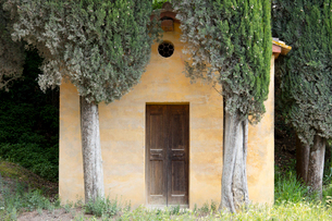 A small Tuscan chapel surrounded by Cypress trees near Lucignano d'Asso, Tuscany, Italy, Europeの写真素材 [FYI03789039]