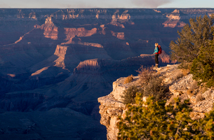 Sunset from the south rim of the Grand Canyon at Shoshone Point, UNESCO World Heritage Site, Arizonaの写真素材 [FYI03789188]