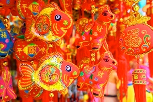 Chinese New Year decorations, Hong Kong, China, Asiaの写真素材 [FYI03789487]