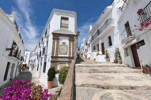 Narrow streets with whitewashed Andalucian houses, Frigiliana, Malaga Province, Costa del Sol, Andalの写真素材 [FYI03789518]