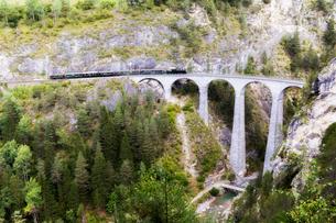 Steam train crosses the Landwasser Viadukt, UNESCO World Heritage Site, Filisur, Albula Valley, Grauの写真素材 [FYI03789623]