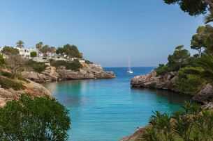 Cala Egos Beach, Cala D'or, Mallorca, Balearic Islands, Spain, Mediterranean, Europeの写真素材 [FYI03789709]