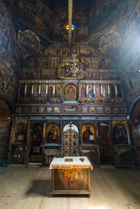 Beautiful paintings in the wooden St. George's Church, UNESCO World Heritage Site, Drohobych, Ukrainの写真素材 [FYI03789717]