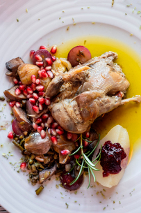 Portuguese Mediterranean dish of roast chicken in olive oil served with rosemary and pomegranate, Poの写真素材 [FYI03789783]