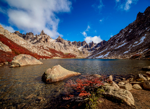Toncek Lagoon and Cerro Catedral, Nahuel Huapi National Park, Rio Negro Province, Argentina, South Aの写真素材 [FYI03789829]