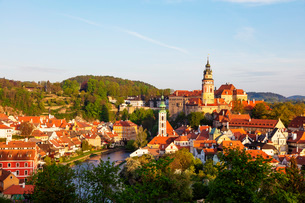 Cesky Krumlov Castle dating back to 1240, Cesky Krumlov, UNESCO World Heritage Site, South Bohemia,の写真素材 [FYI03789959]