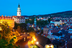 Cesky Krumlov Castle dating back to 1240, Cesky Krumlov, UNESCO World Heritage Site, South Bohemia,の写真素材 [FYI03789960]