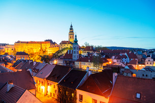 Cesky Krumlov Castle dating back to 1240, Cesky Krumlov, UNESCO World Heritage Site, South Bohemia,の写真素材 [FYI03789961]