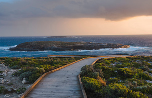 Board walk towards the Admirals Arch in the Flinders Chase National Park, Kangaroo Island, South Ausの写真素材 [FYI03790001]
