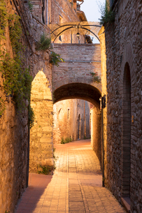 Dawn view of streets in San Gimignano, UNESCO World Heritage Site, Tuscany, Italy, Europeの写真素材 [FYI03790054]