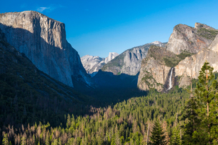 Yosemite Valley and Bridalveil Fall from Tunnel View, Yosemite National Park, UNESCO World Heritageの写真素材 [FYI03790344]