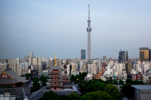View over city with Tokyo Skytree and Five-Storied Pagoda, Tokyo, Japan, Asiaの写真素材 [FYI03790372]