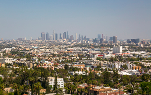 View of Downtown skyline from Hollywood Hills, Los Angeles, California, United States of America, Noの写真素材 [FYI03790423]