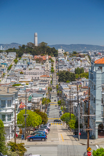 View of Coit Tower from Russian Hill, San Francisco, California, United States of America, North Ameの写真素材 [FYI03790427]