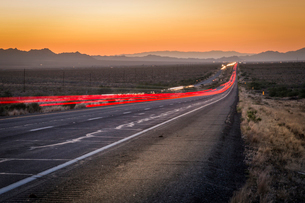 View of trail lights on Highway 93, Arizona, United States of America, North Americaの写真素材 [FYI03790650]