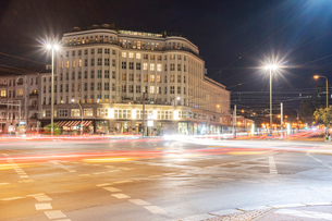 Soho house at Berlin Mitte close to Alexander Platz at night with light trails, Berlin, Germany, Eurの写真素材 [FYI03790915]