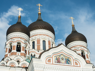 Alexander Nevsky Cathedral (Russian Orthodox), Toompea (Upper Town), UNESCO World Heritage Site, Talの写真素材 [FYI03791178]