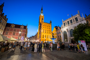 Hanseatic League houses with the town hall after sunset in the pedestrian zone of Gdansk, Poland, Euの写真素材 [FYI03791363]
