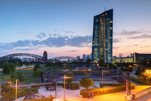 European Central Bank at sunset, Frankfurt, Hesse, Germany, Europeの写真素材 [FYI03791543]