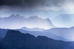 Summer storm in Fassa Valley, Trentino, Dolomites, Italy, Europeの写真素材 [FYI03791642]
