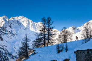 Photographer at the foot of snowy Monte Vazzeda, Alpe dell'Oro, Valmalenco, Valtellina, Sondrio provの写真素材 [FYI03791815]