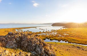 Songkol Lake, Kyrgyzstan, Central Asia, Asiaの写真素材 [FYI03791865]