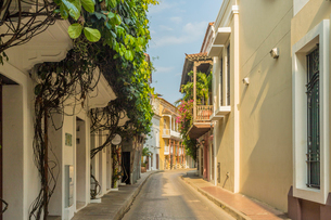 A street scene in Cartagena, Colombia, South Americaの写真素材 [FYI03791920]
