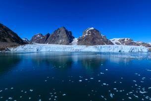 Thryms (Thrym) Glacier, large, retreating, tidewater glacier, Skjoldungen Fjord, glorious weather, rの写真素材 [FYI03791930]