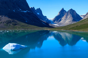 Iceberg, pyramidal peaks, reflections, blue green waters, South Skjoldungen Fjord, glorious weather,の写真素材 [FYI03791940]