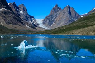 Blue iceberg, pyramidal peaks, glacier, rugged South Skjoldungen Fjord and Island, glorious weather,の写真素材 [FYI03791941]