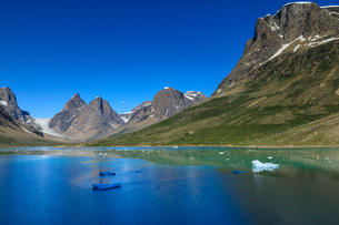 Pyramidal peaks, blue icebergs, glaciers, rugged South Skjoldungen Fjord, glorious weather, remote Sの写真素材 [FYI03791945]