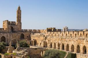 The Tower of David (Jerusalem Citadel), Old City, UNESCO World Heritage Site, Jerusalem, Israel, Midの写真素材 [FYI03792327]