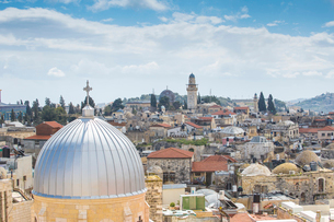 View of the Old City, UNESCO World Heritage Site, Jerusalem, Israel, Middle Eastの写真素材 [FYI03792404]