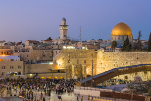 Western Wall and the Dome of the Rock, Old City, UNESCO World Heritage Site, Jerusalem, Israel, Middの写真素材 [FYI03792412]