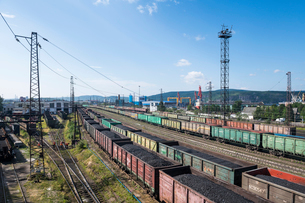 View over the Railway station in Murmansk, Russia, Europeの写真素材 [FYI03792514]