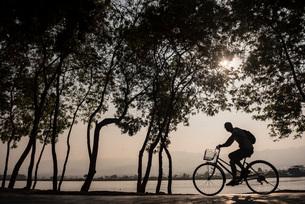 Tourist exploring Inle Lake by bicycle at sunset, Shan State, Myanmar (Burma), Asiaの写真素材 [FYI03792919]