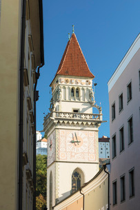 Tower of town hall in Passau, Germany, Europeの写真素材 [FYI03793259]