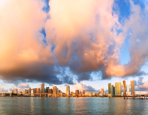 Panoramic of Miami skyline seen from Watson Island, Miami, Florida, United States of America, Northの写真素材 [FYI03793681]