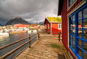 Harbor and typical fishermen's houses with grass roof, Reine, Nordland, Lofoten Islands, Norway, Eurの写真素材 [FYI03793701]