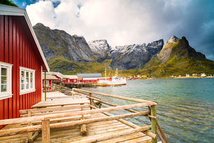 Harbor and typical rorbu, Reine, Nordland, Lofoten Islands, Norway, Europeの写真素材 [FYI03793703]