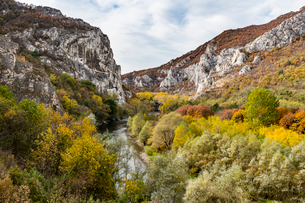 Beautiful autumn colours in the Iskar Gorge, Bulgaria, Europeの写真素材 [FYI03793829]