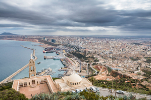 View over Oran with the Santa Cruz Cathedral in the foreground, Oran, Algeria, North Africa, Africaの写真素材 [FYI03793946]