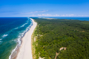 Aerial by drone of the Curonian Spit National Park, UNESCO World Heritage Site, Kaliningrad, Russia,の写真素材 [FYI03794018]
