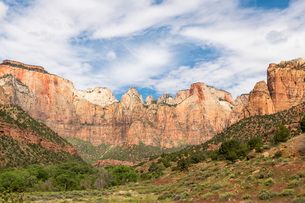 Canyon overlook in Zion National Park, Utah, United States of America, North Americaの写真素材 [FYI03794222]