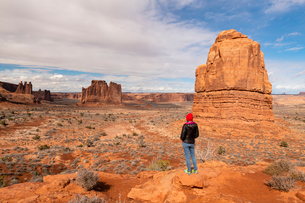 Park Avenue, Arches National Park, Moab, Utah, United States of America, North Americaの写真素材 [FYI03794333]