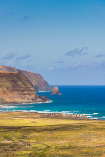 Moai heads of Easter Island, Rapa Nui National Park, UNESCO World Heritage Site, Easter Island, Chilの写真素材 [FYI03794593]